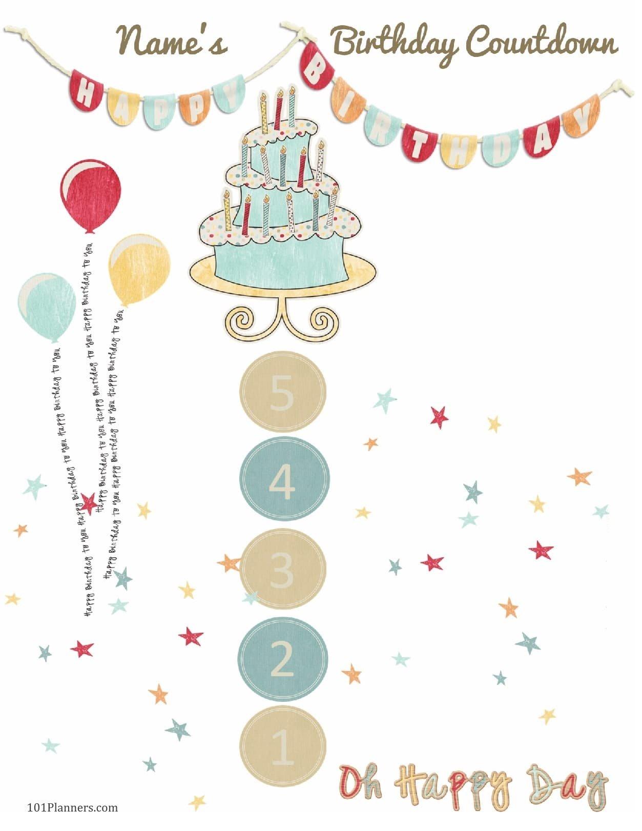 6 Colorful Birthday Countdown Calendars   Kittybabylove Pregnancy Countdown Calendar Printable Free