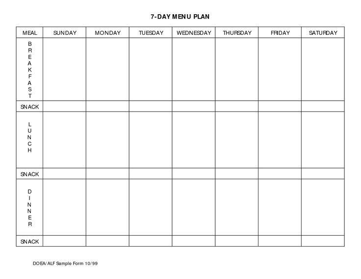 7 Day Meal Planner Template Business Letter Template Free 7 Day Calendar Template