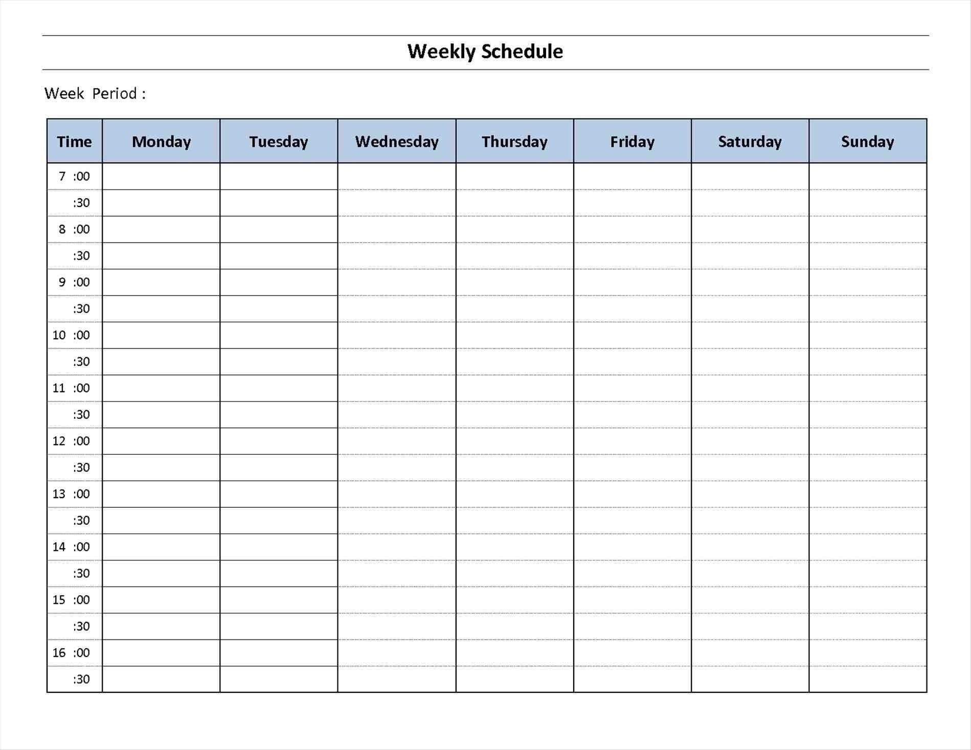 7 Day Week Calendar Printable   Template Calendar Free Copy Of Daily Hourly Calendar