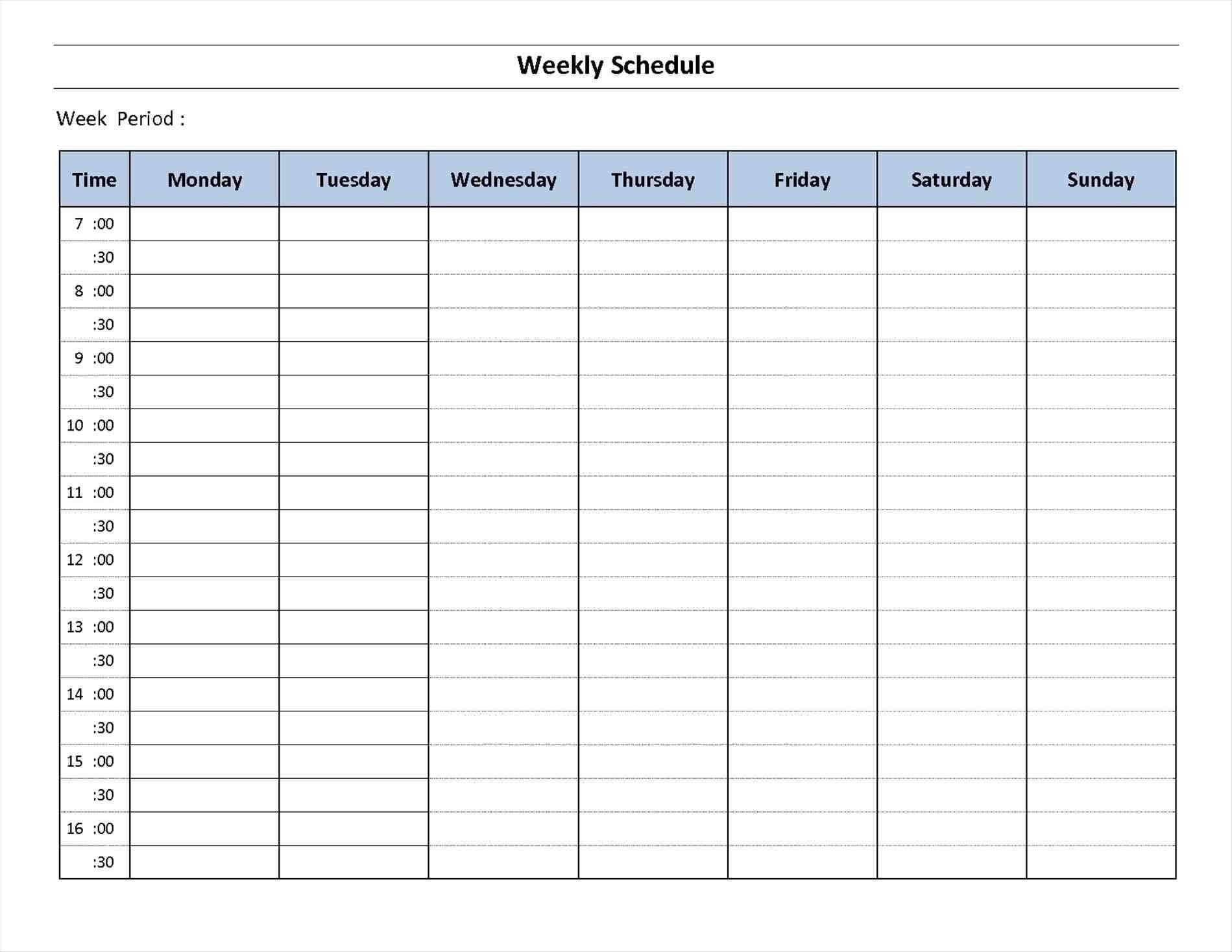7 Day Week Calendar Printable   Template Calendar One Day Hourly Calendar Free Printable