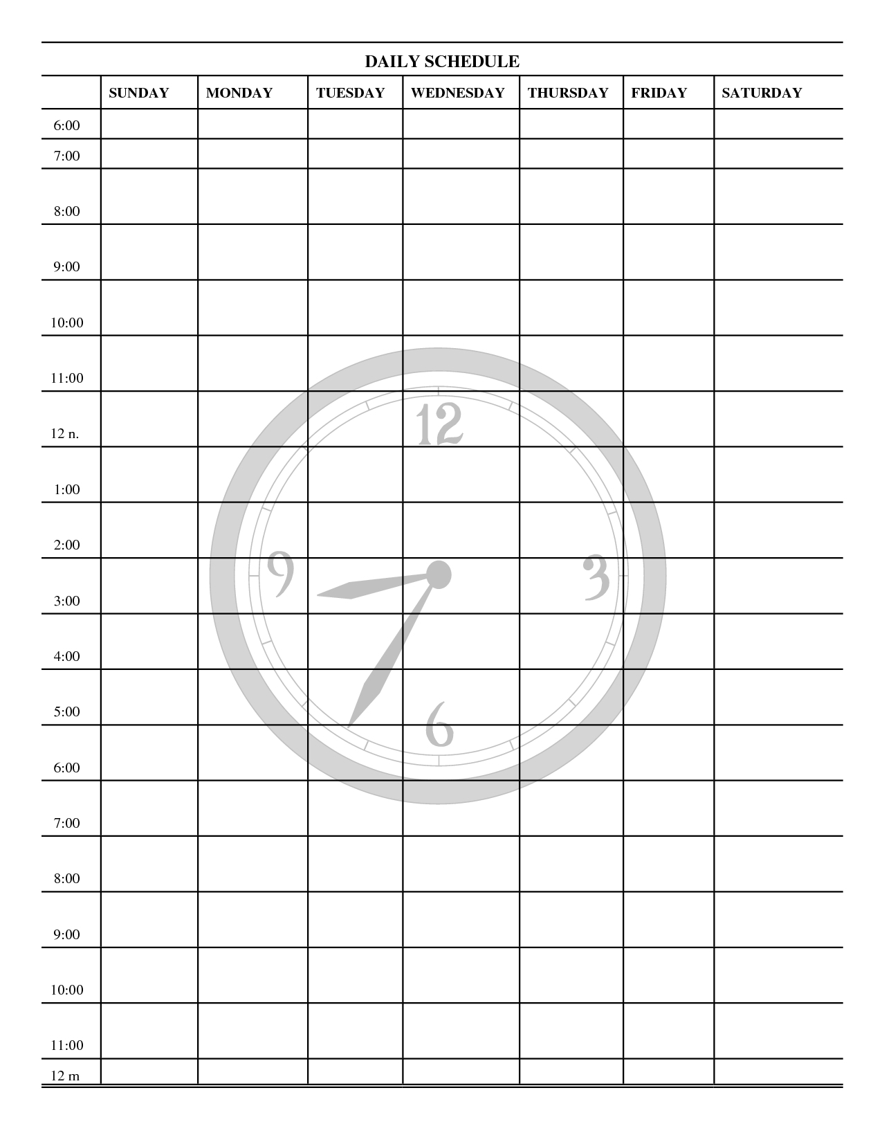7 Day Weekly Planner Template Printable | Calendar Blank 7 Day Schedule