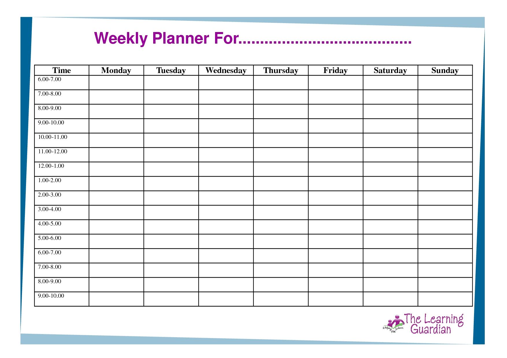 7 Day Weekly Planner Template Printable – Template Free Blank Calendar For One Week Printable