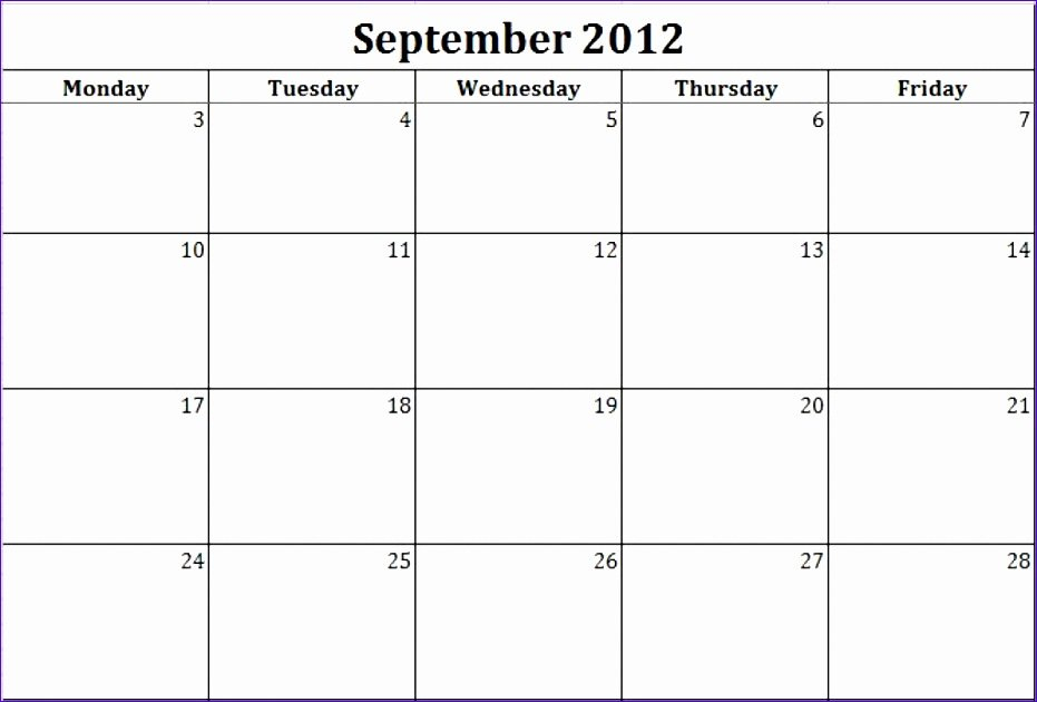 7 Monthly Calendar Schedule Template Excel – Excel Blank Free Printable Monday Through Friday