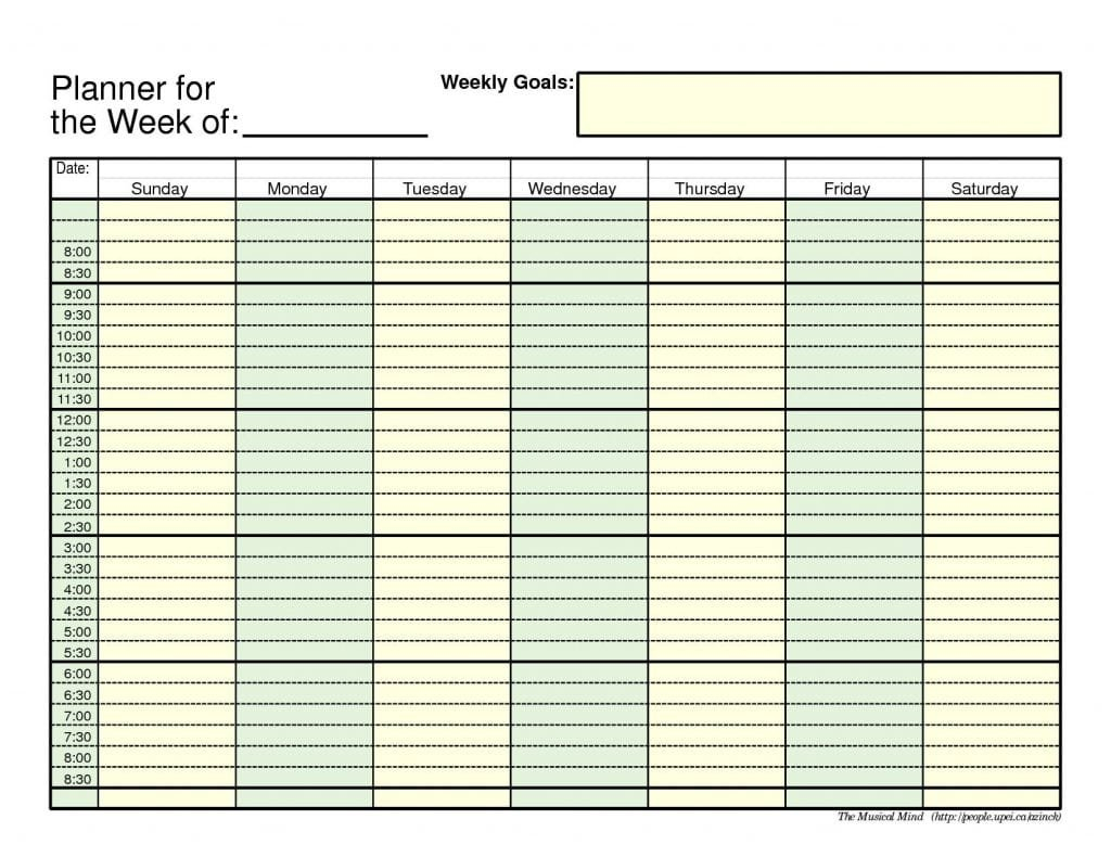 7+ Weekly Planner Templates – Word Excel Pdf Templates Free Weekly Agenda Templates With Time Slots