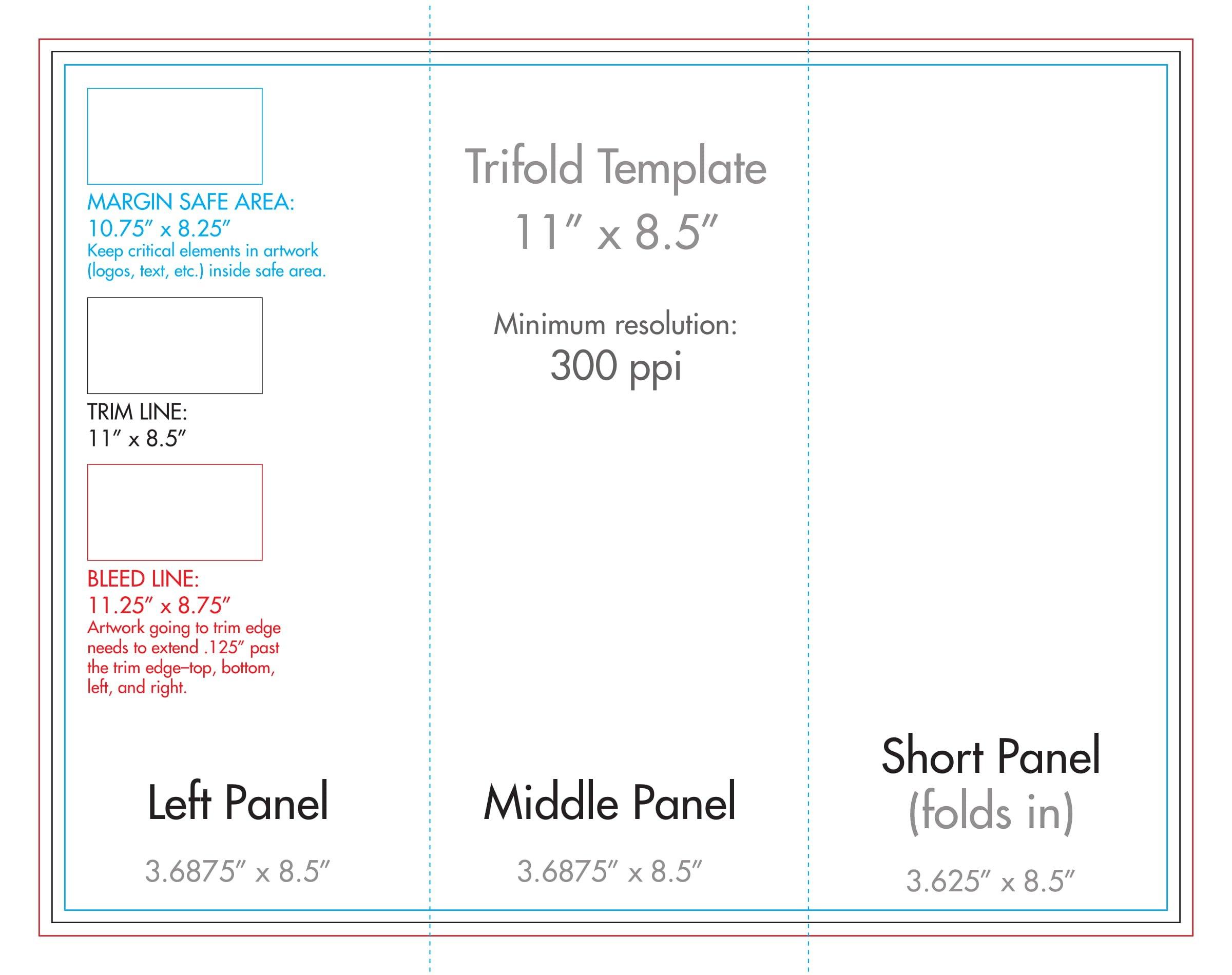 "8.5"" X 11"" Tri Fold Brochure Template – U.s. Press Printable Full Size 8 X 11 Calander"