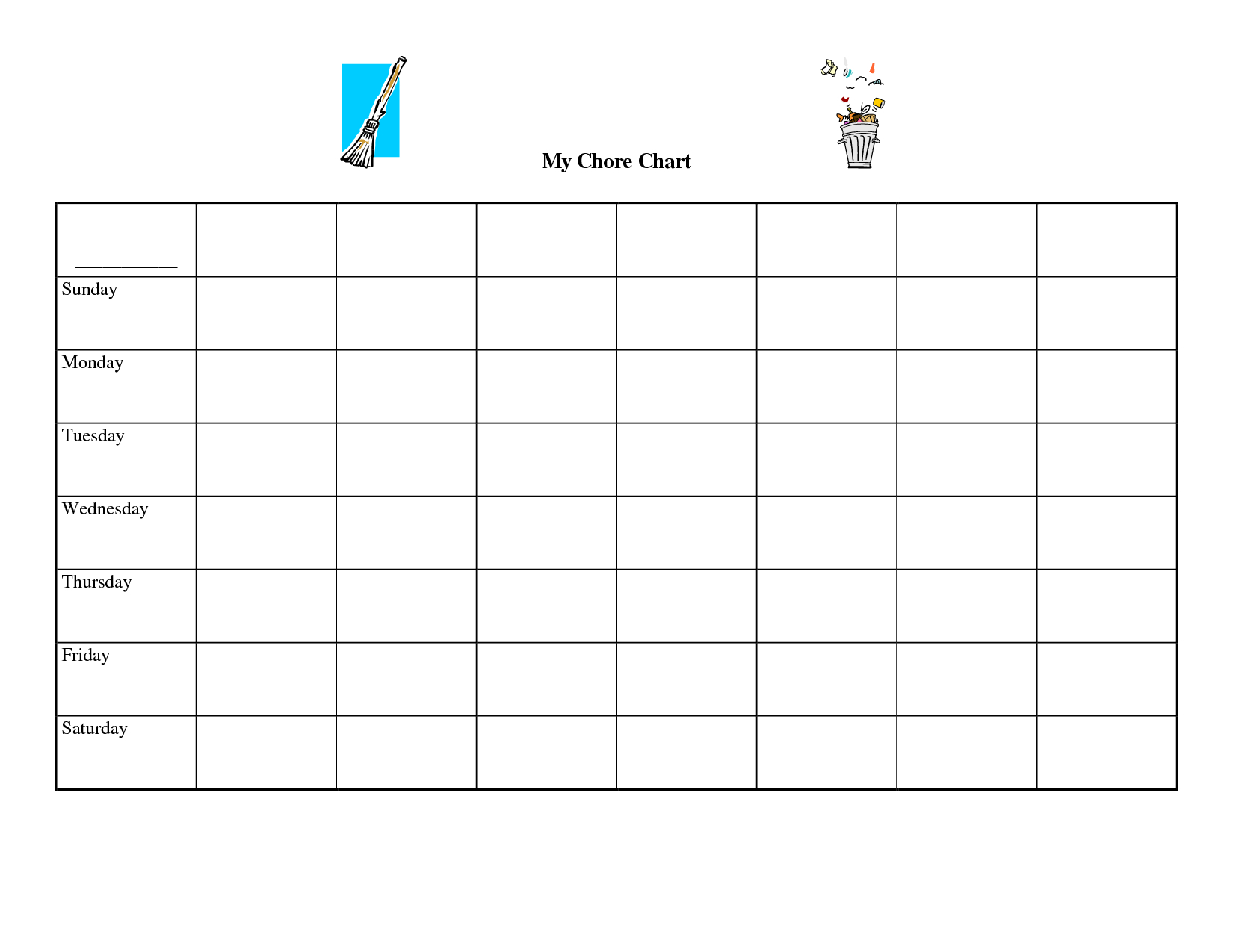 9 Images Of Free Printable Blank Chart Templates Download Free Chart For Monday Friday