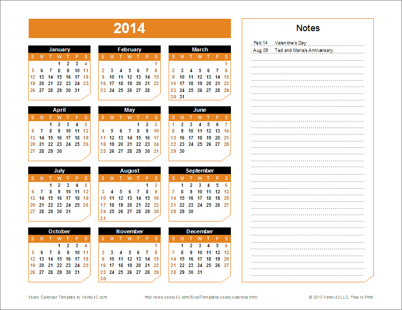 A Great Calendar Template For Yearly Planning. You Can Calendars You Can Edit
