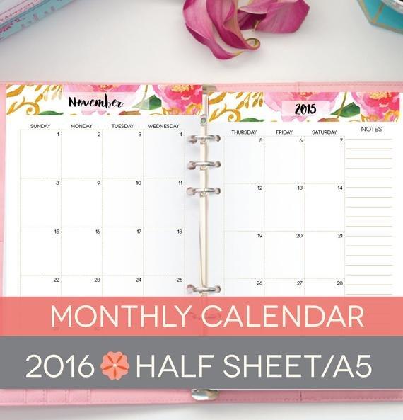 A5 Calendar Printable 2016 Floral Half Sheets Libreoffice 5.5 X 8.5 Calendar