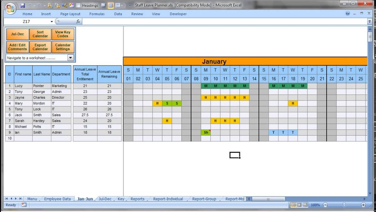 Annually Employee Leave Record Format In Excel 2016 – Youtube Printable Employee Booked Time Off Calendar