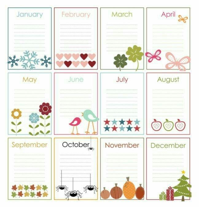 Anotações Mês Planner   Calendários Imprimíveis Editable Birthday Calendar Template Free