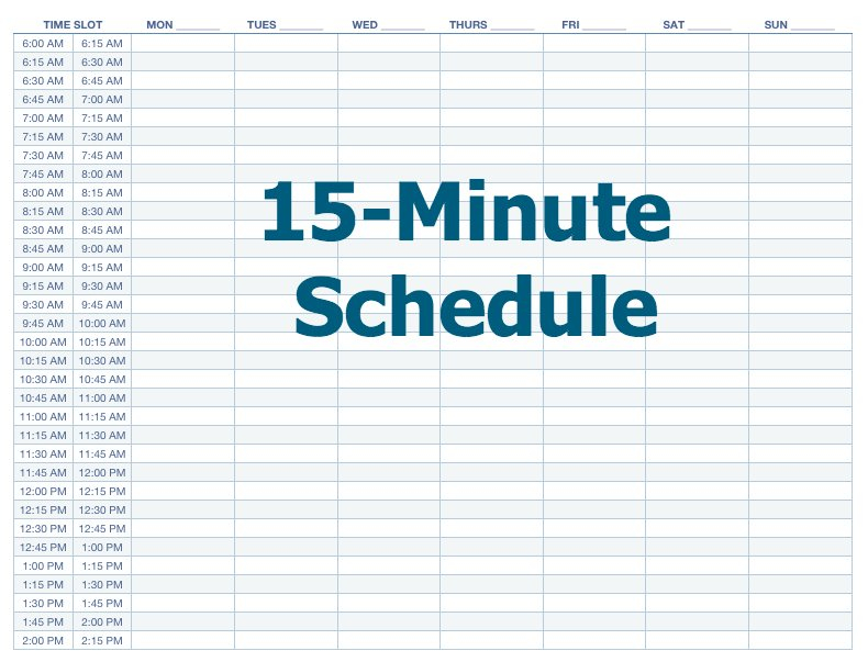 Appointment Schedule Template 15 Minute Increments Premade Calendar With Time Slots For April And May