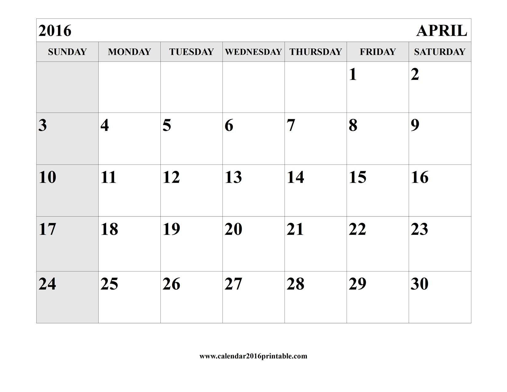 April 2016 Calendar Printable Template   Calendar Template Calendars You Can Edit And Print