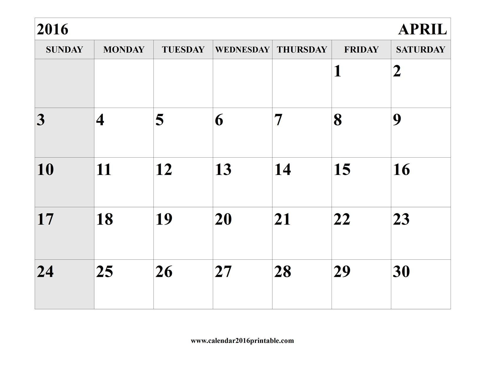 April 2016 Calendar Printable Template | Calendar Template Calender That Yopu Can Eedit