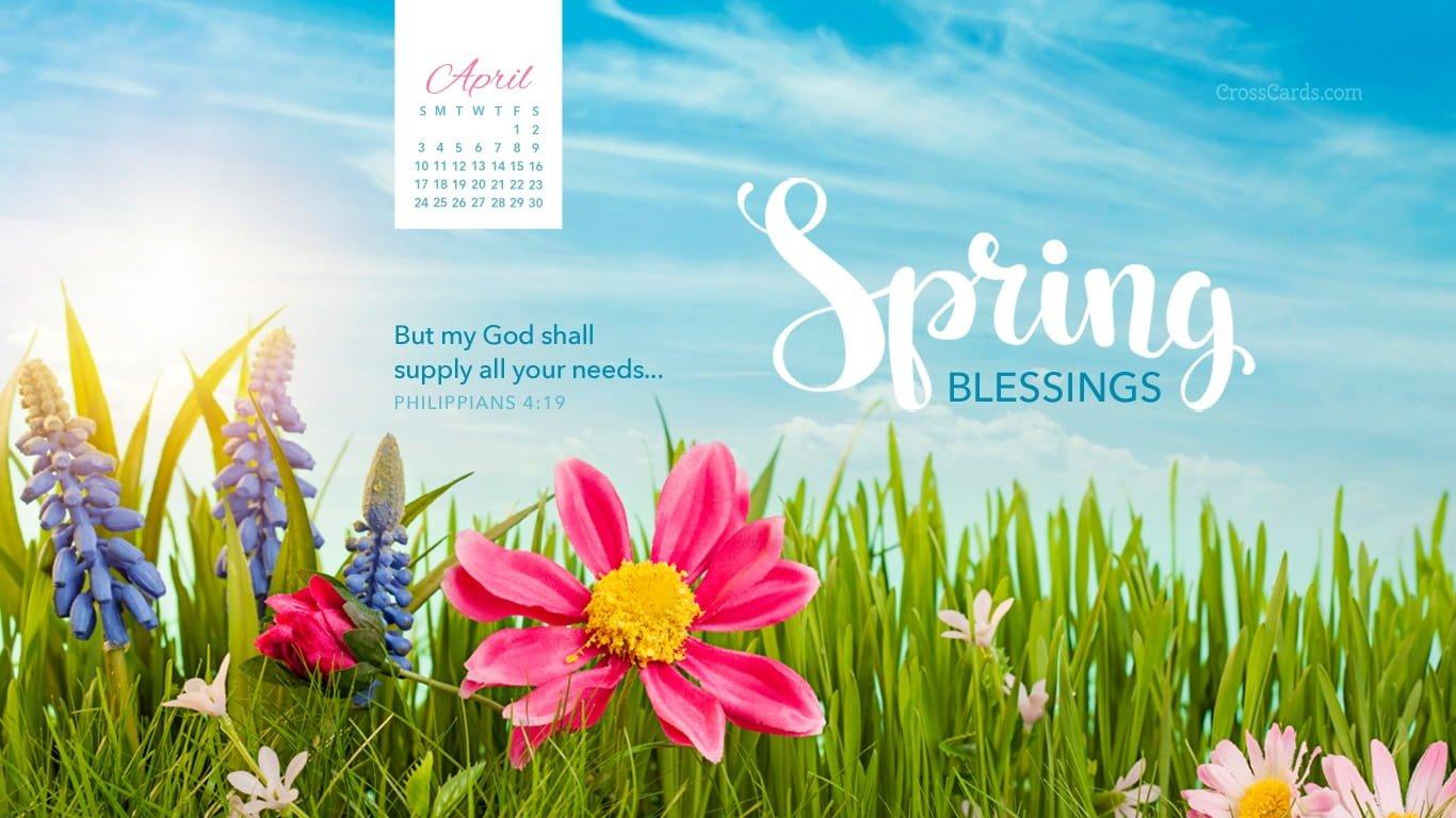 April 2016 – Spring Blessings Desktop Calendar  Free April Cross Cards Lune Calebders
