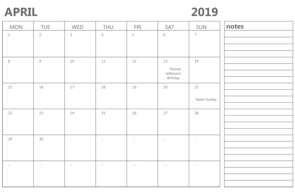 April 2019 Calendar With Notes #Aprilcalendar # April Birthday Templates Filable
