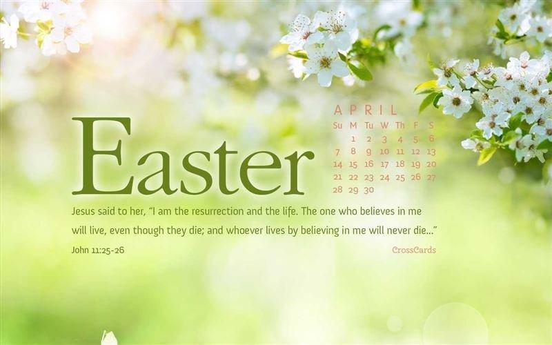 April 2019 – John 11:25 26 Desktop Calendar  Free April Cross Cards Lune Calebders