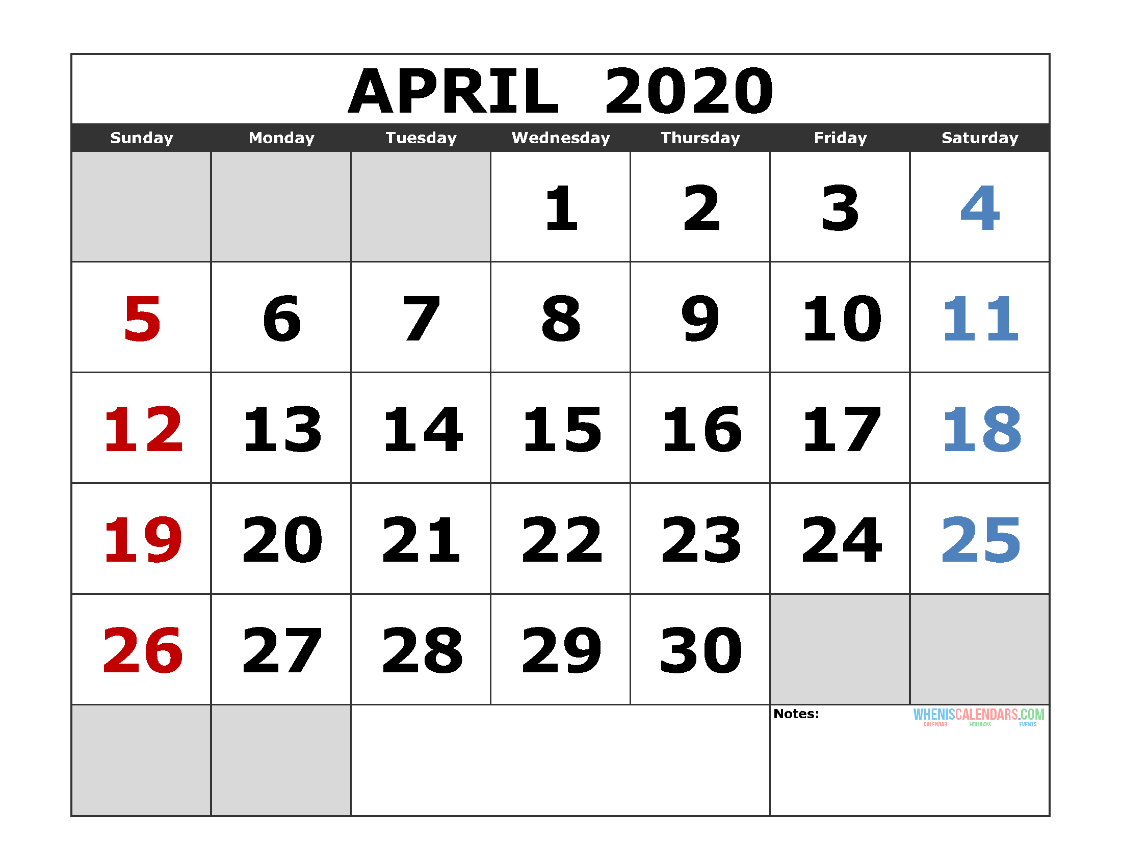 April 2020 Printable Calendar Template Excel, Pdf, Image Image Of Month Calendar