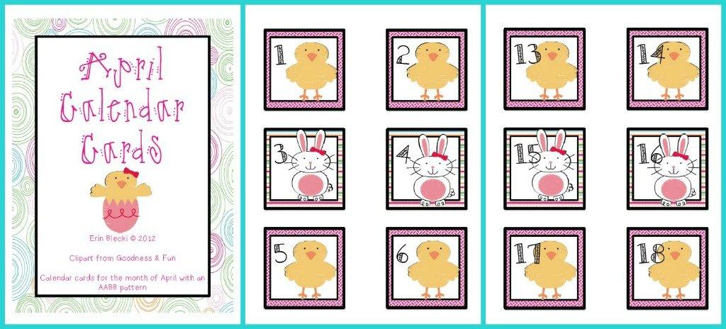 April Calendar Cards | Creating & Teaching Free Calendar With Number Cards