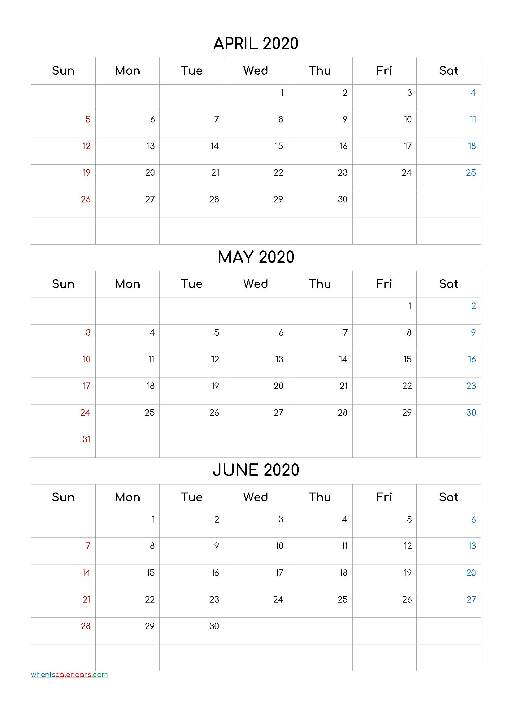 April May June 2020 Three Month Calendar Printable 20Cf4 3 Month Calendar April Free Printable
