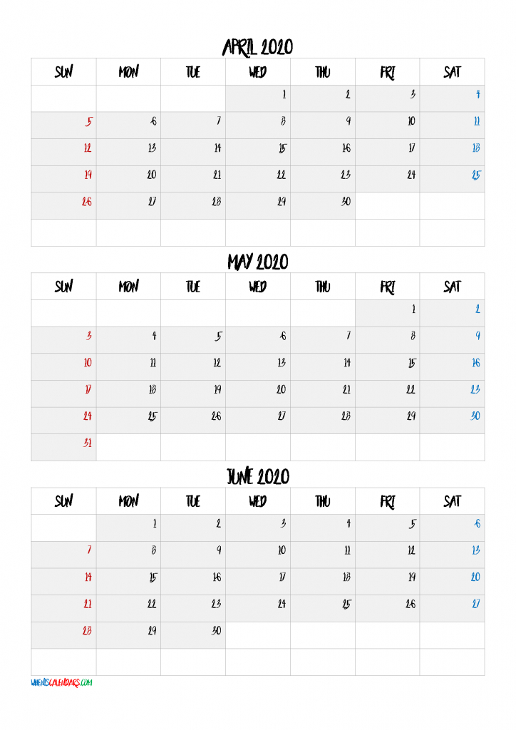 April May June 2021 Three Month Calendar 21Bb6 | Free 3 Month Calendar April Free Printable