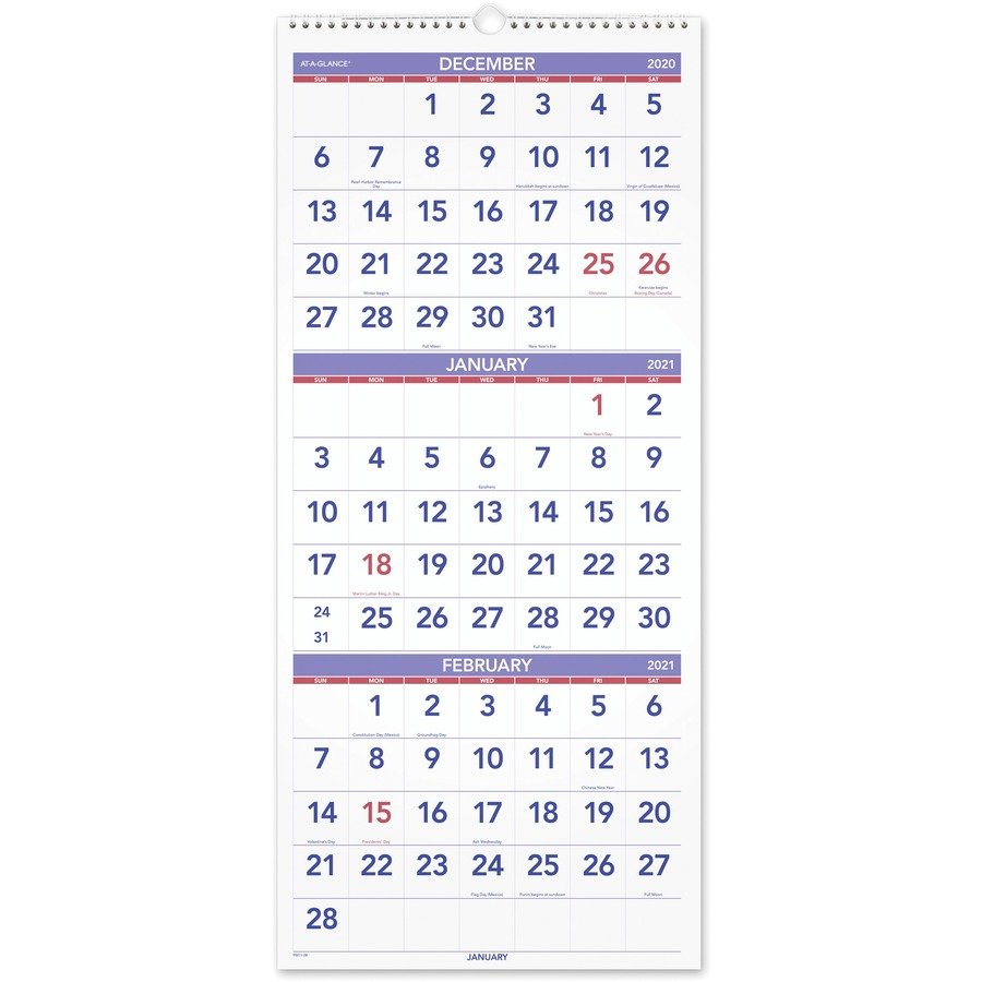 At A Glance 3 Month Reference Wall Calendar – Monthly – 1 3 Month Free Calendar