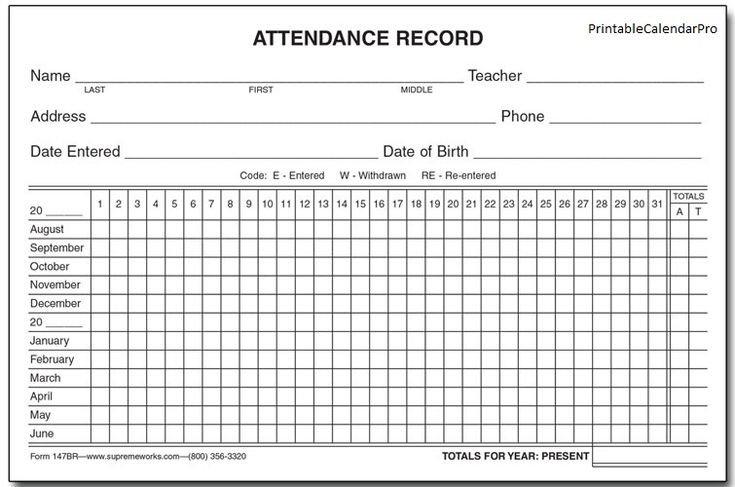 Attendance Printable Calendar Template | Attendance Sheet Printable Employee Booked Time Off Calendar