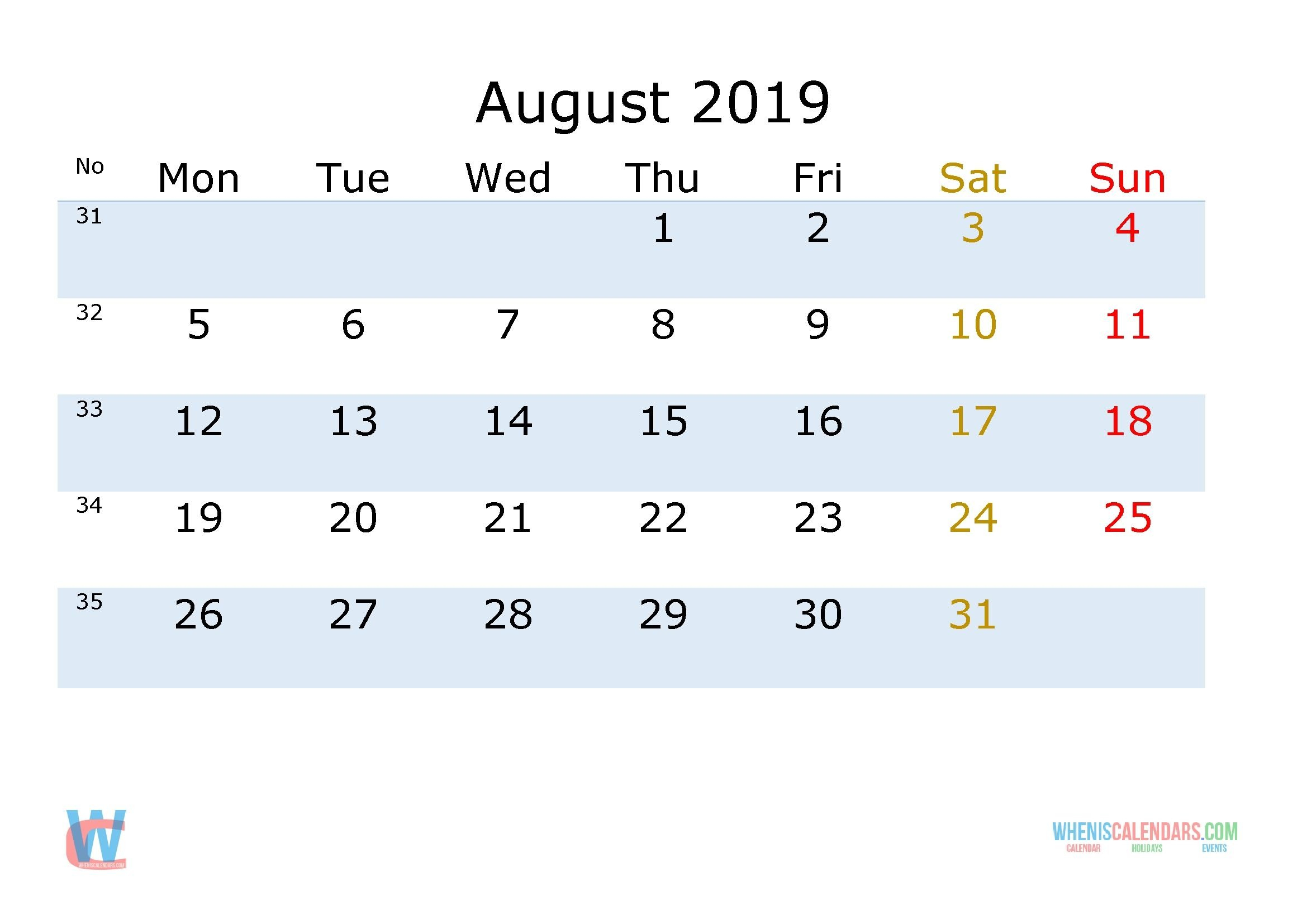 August 2019 Printable Monthly Calendar With Week Numbers Printable Blank Numbered List Up To 31