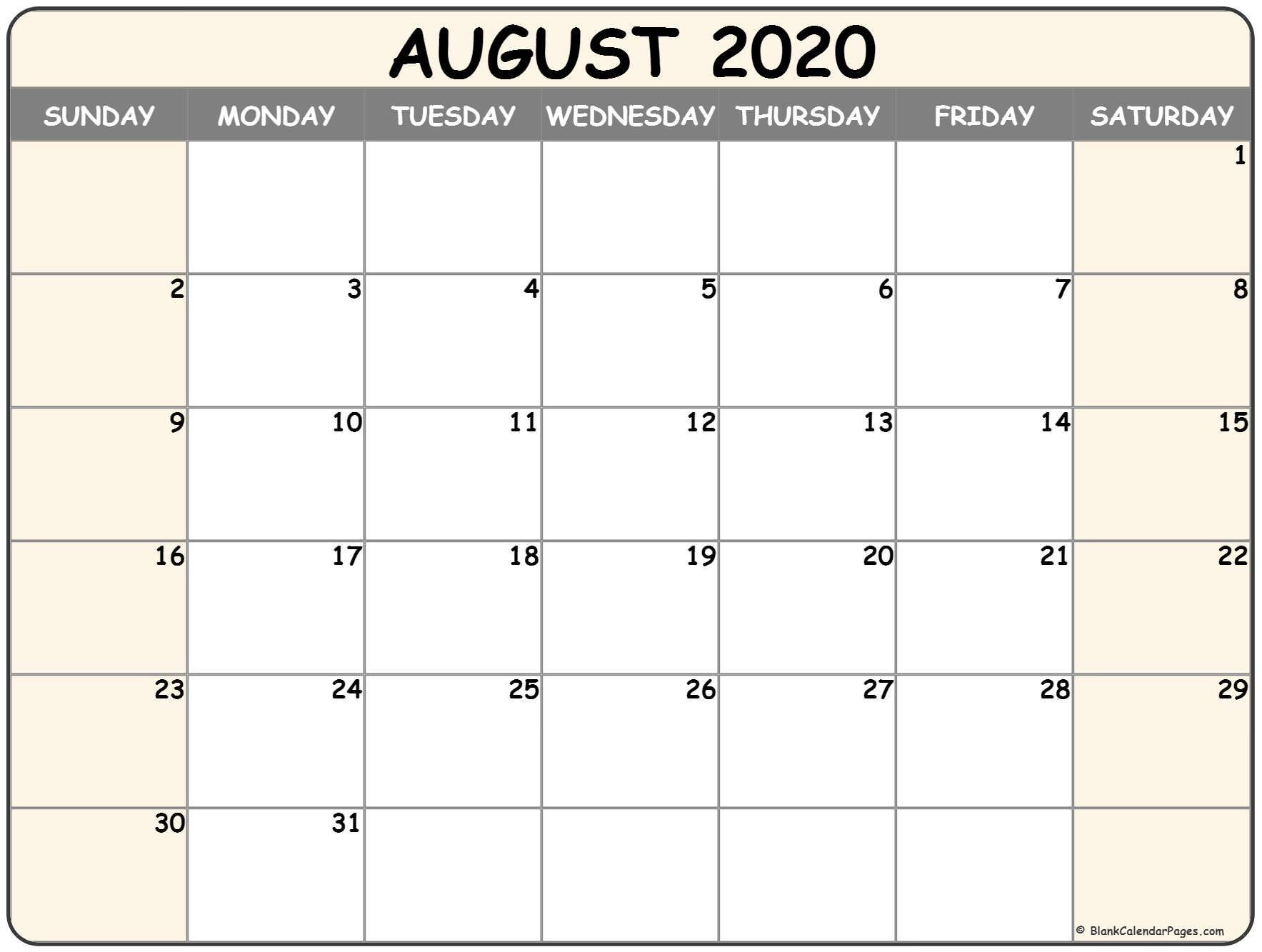 August 2020 Calendar | Free Printable Monthly Calendars Free Blank Calendar Page