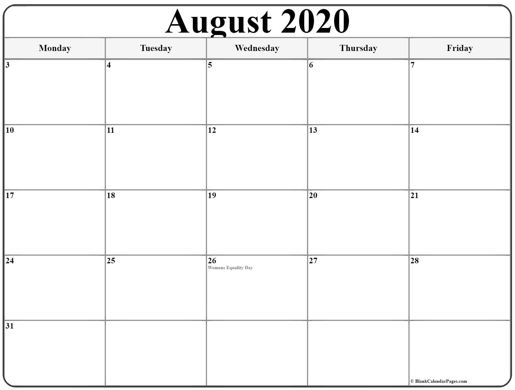 August 2020 Monday Calendar | Monday To Sunday Monthly Mon Friday Calendar