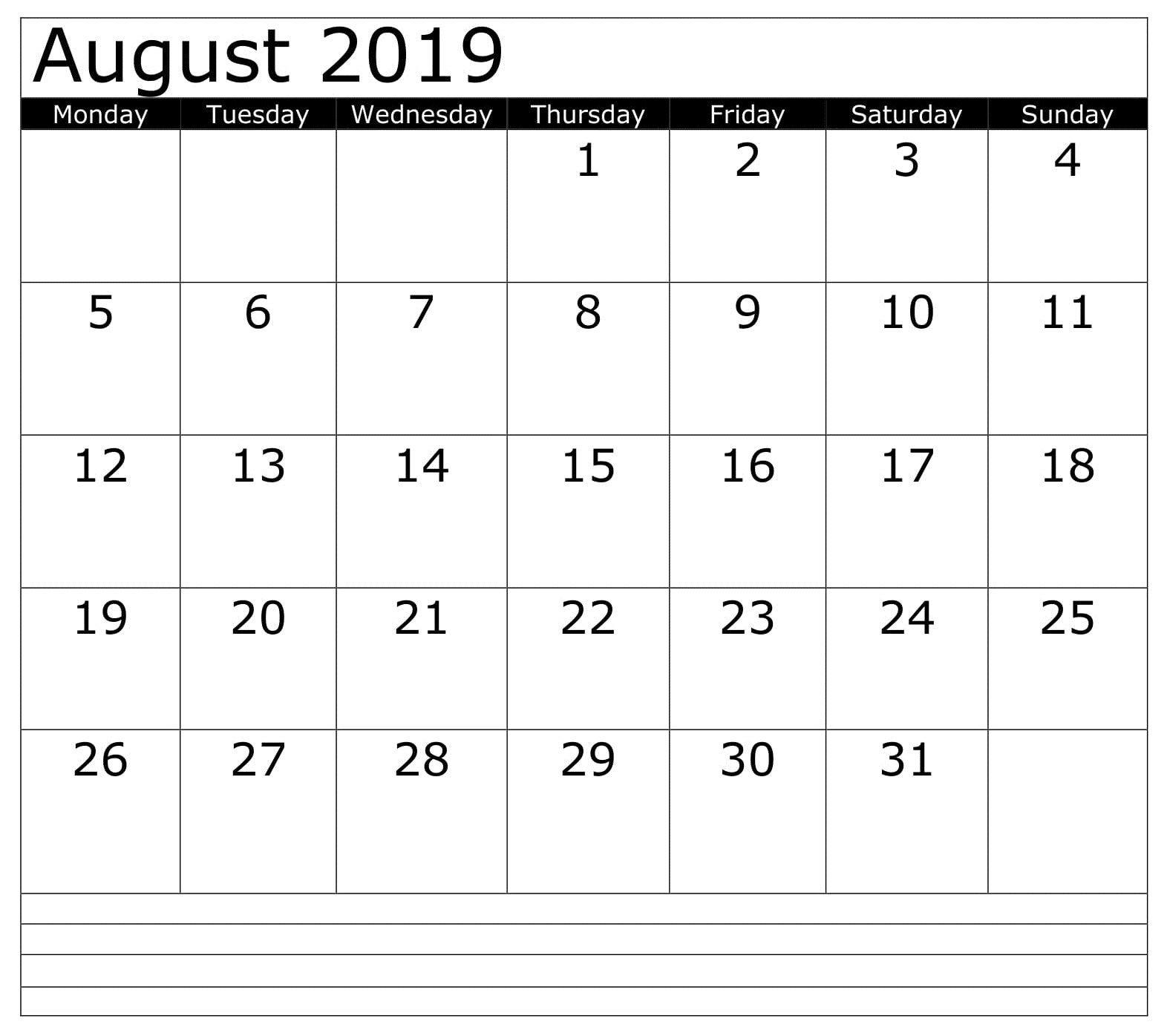 August Blank 2019 Business Calendar In 2019 | Monthly Blank Sunday Through Saturday Calendar