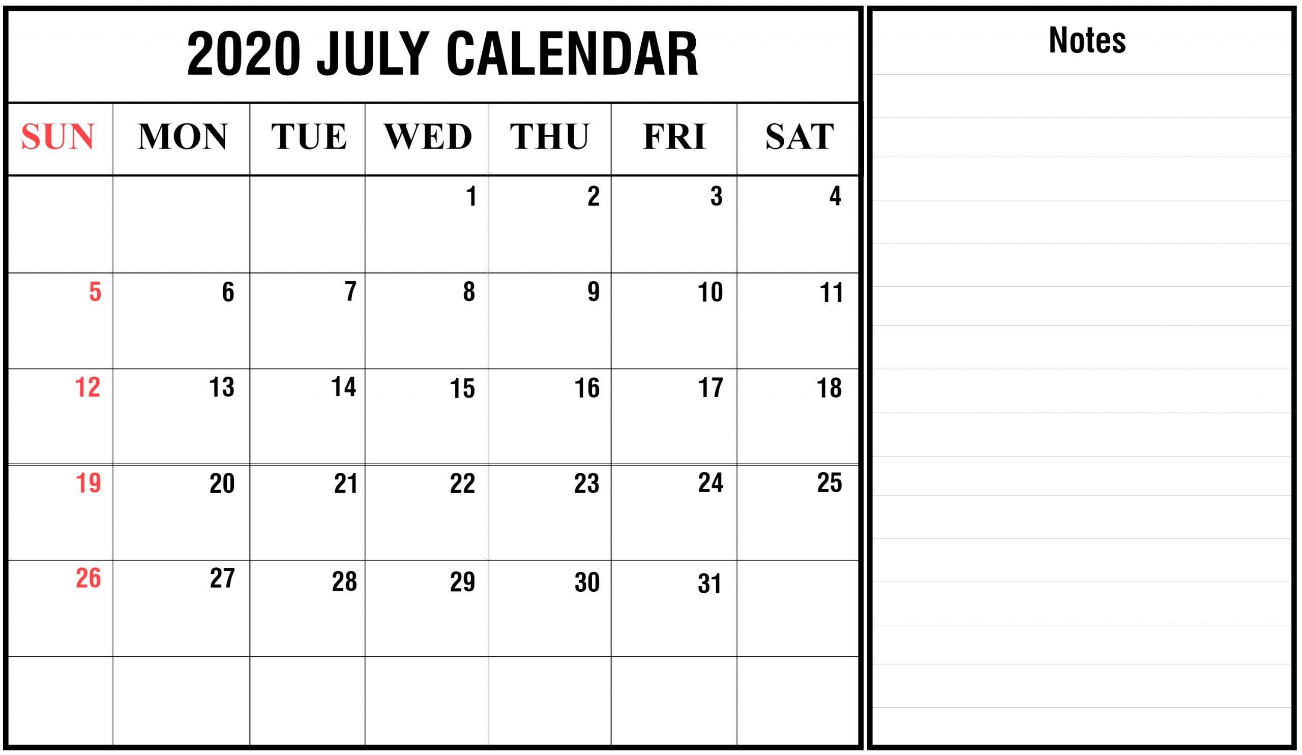 Awesome July 2020 Calendar Pdf, Word, Excel Template Calendar Template With Notes Section