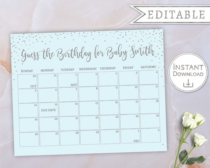 Baby Due Date Calendar, Guess Babys Birthday, Baby Boy Baby Date/Time Guessing Games Verbiage