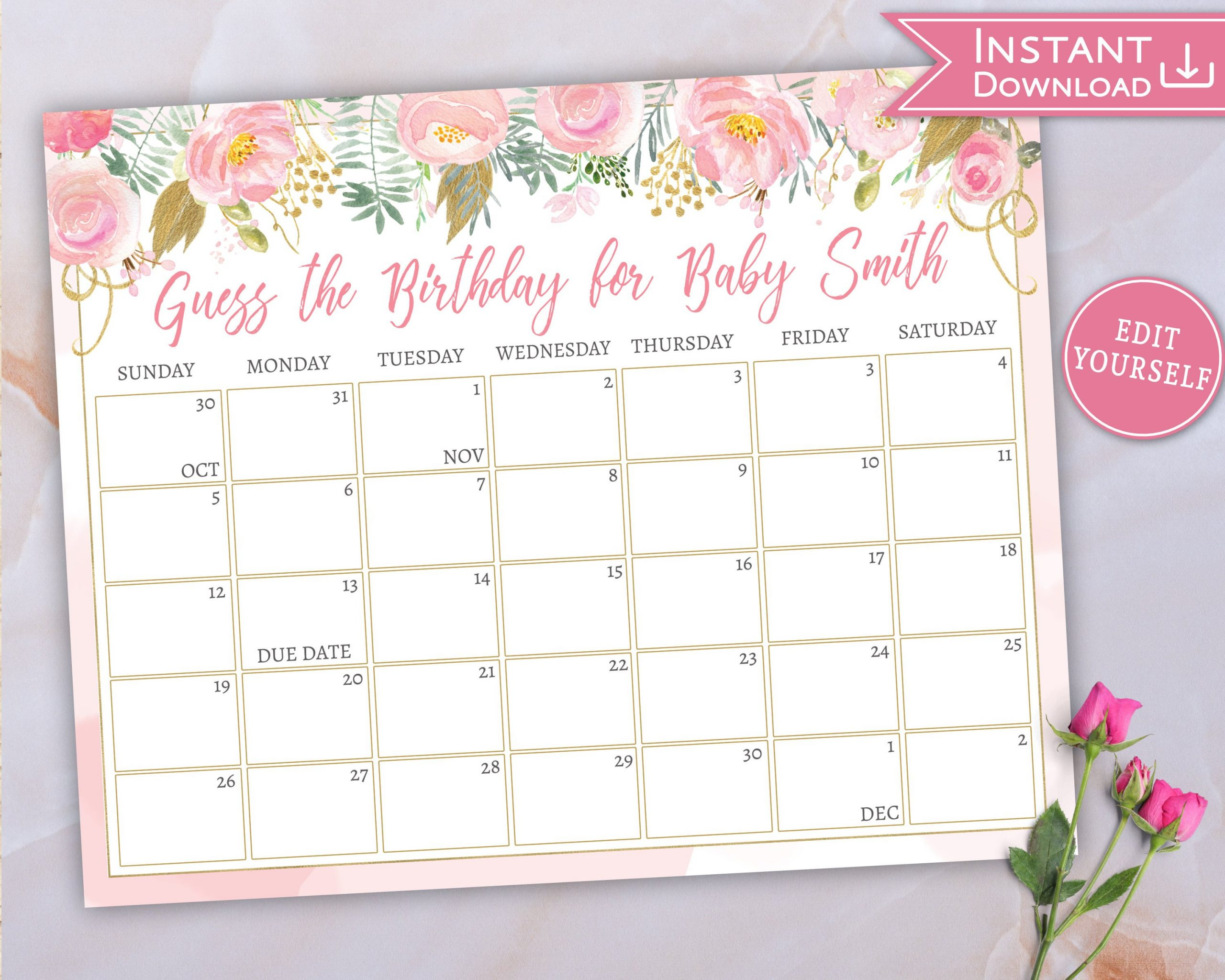 Baby Due Date Calendar Guess Babys Birthday Floral Pink Gold Printable Due Date Guess