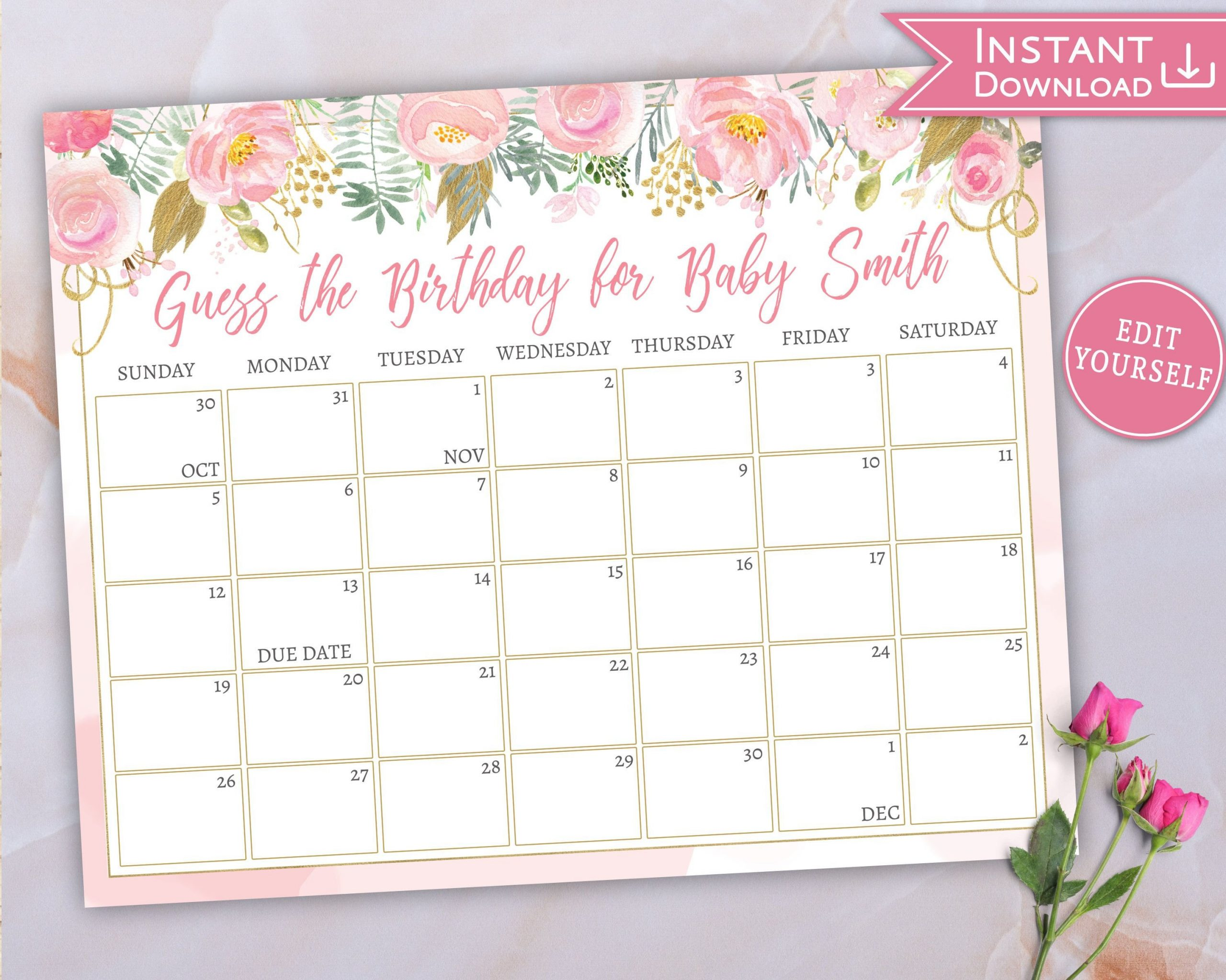 Baby Due Date Calendar, Guess Baby'S Birthday, Floral Pink Guess Baby Birthday Calendar