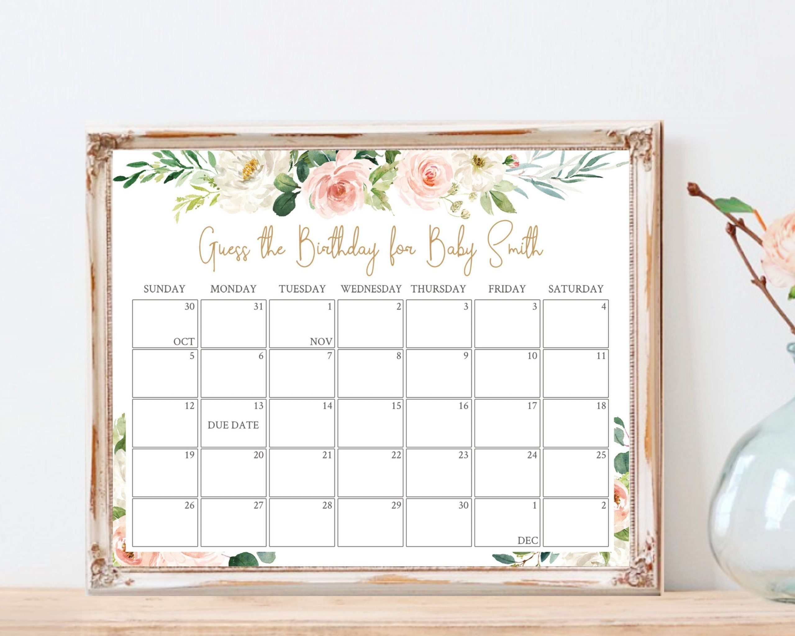 Baby Due Date Calendar, Printable Game, Guess Baby Baby Due Date Calendar Template