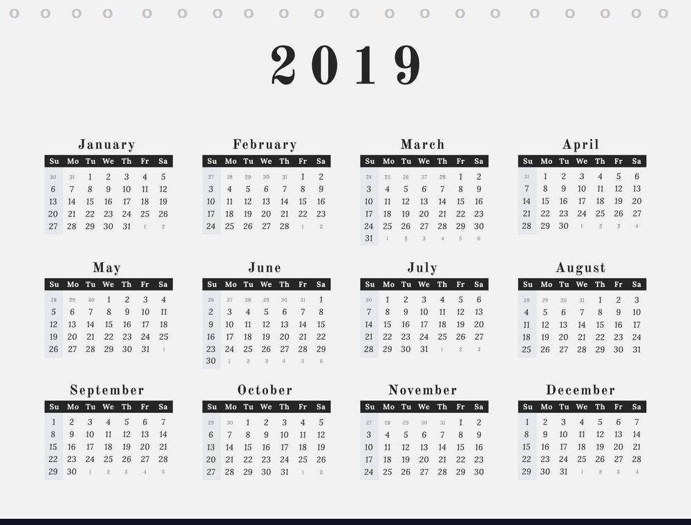 {Best} Free Desk Calendar 2019 Printable Template Download Five Year Calendar Image