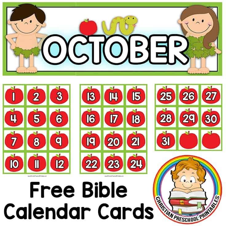 Bible Calendar Printables – Christian Preschool Printables Free Calendar With Number Cards