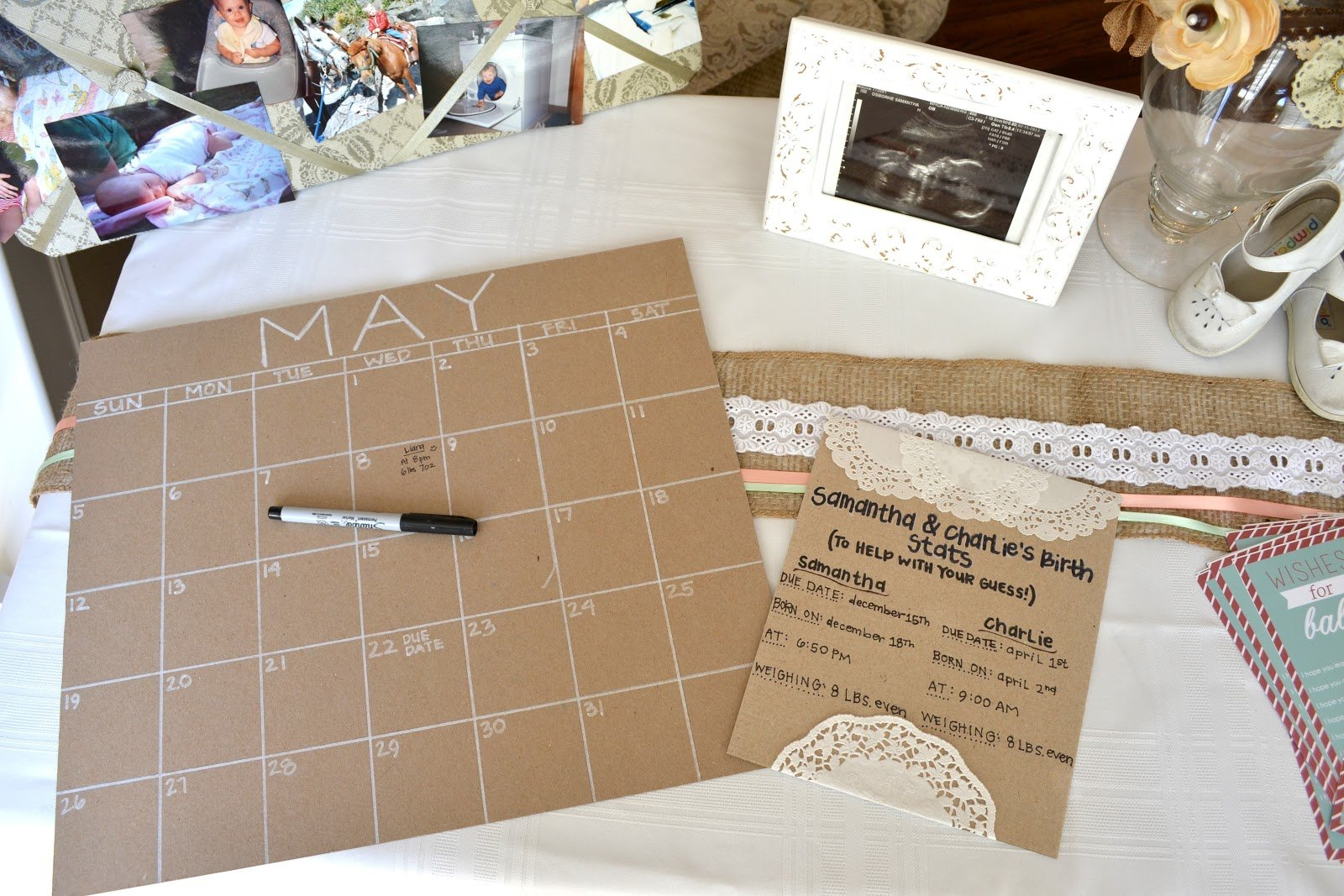 Birthdate Guessing Game. Like The Card About Parents Stats Baby Due Date Betting Calendar