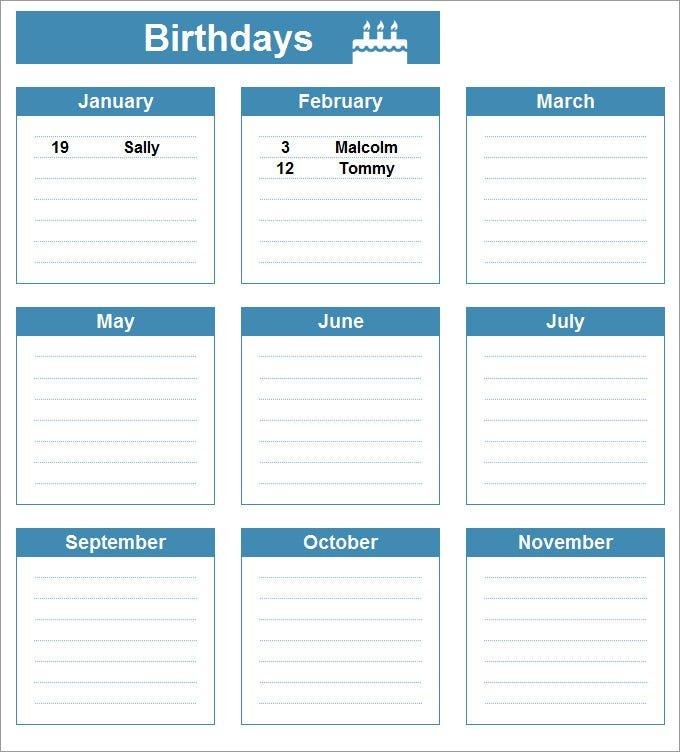 Birthday Calendar – Calendar Template | Free & Premium Free Calendar Template For Birthdays