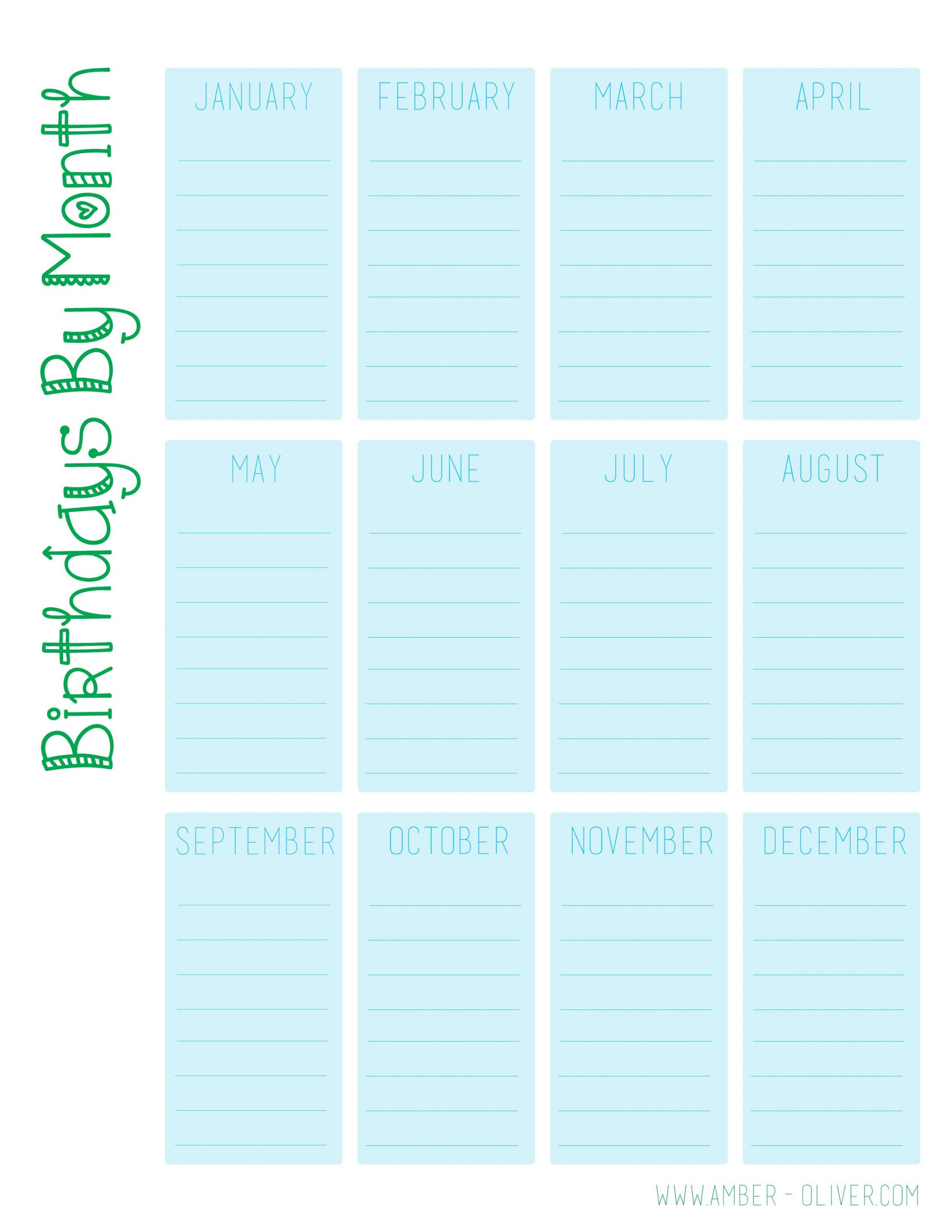 Birthday Calendar Printable   Amber Oliver Birthday Calendars That We Can Fill In
