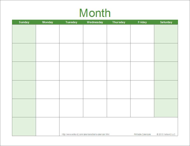 Blank 30 Day Calendar Download   Blank Calendar Template 30 Day Printable Schedule