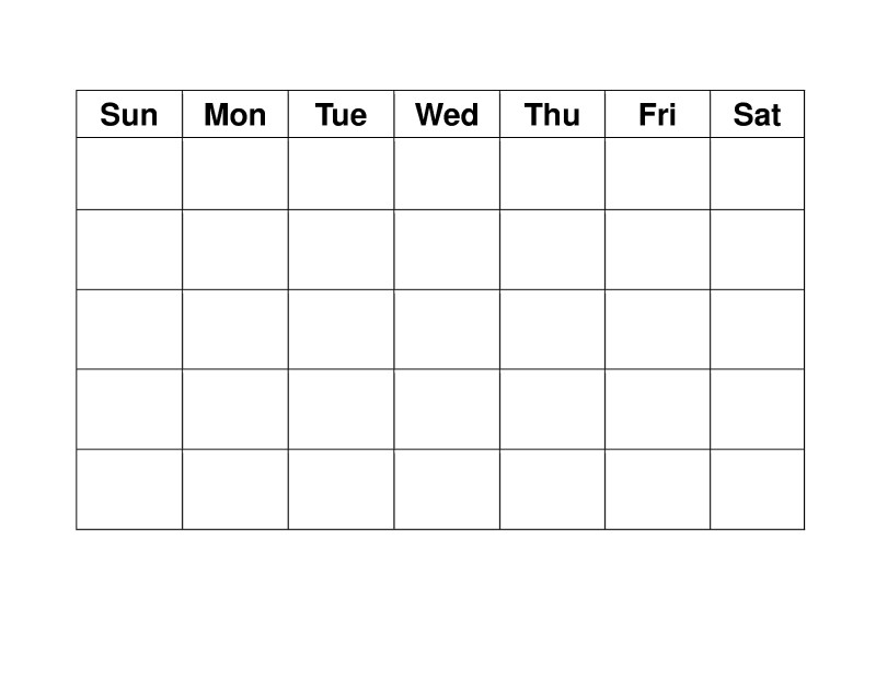 Blank Activity Calendar Template Unique Blank Weekly Simple Weekly X5 Calendar Template