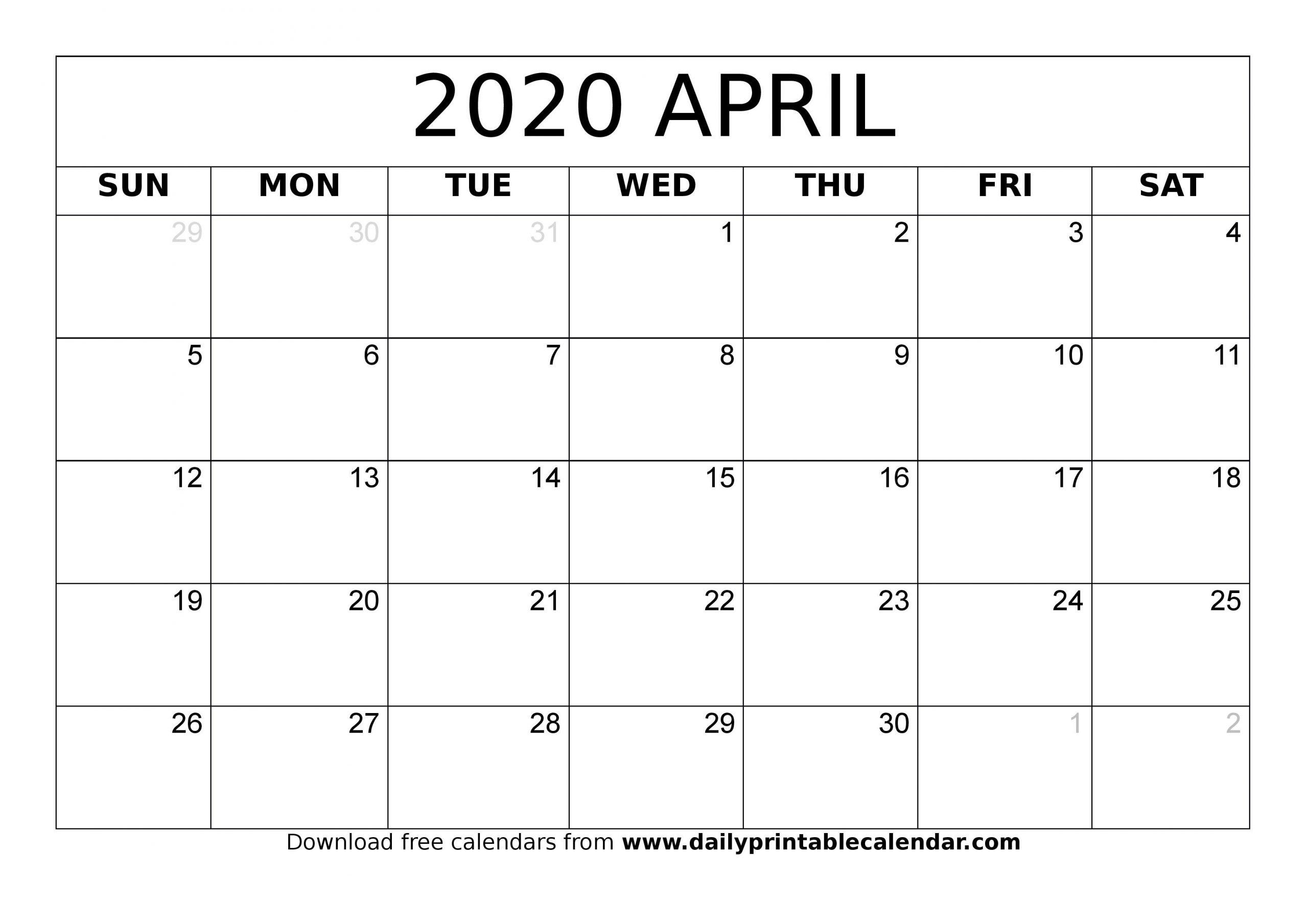 Blank April 2020 Monthly Calendar – Planner Templates 3 Month Calendar April Free Printable