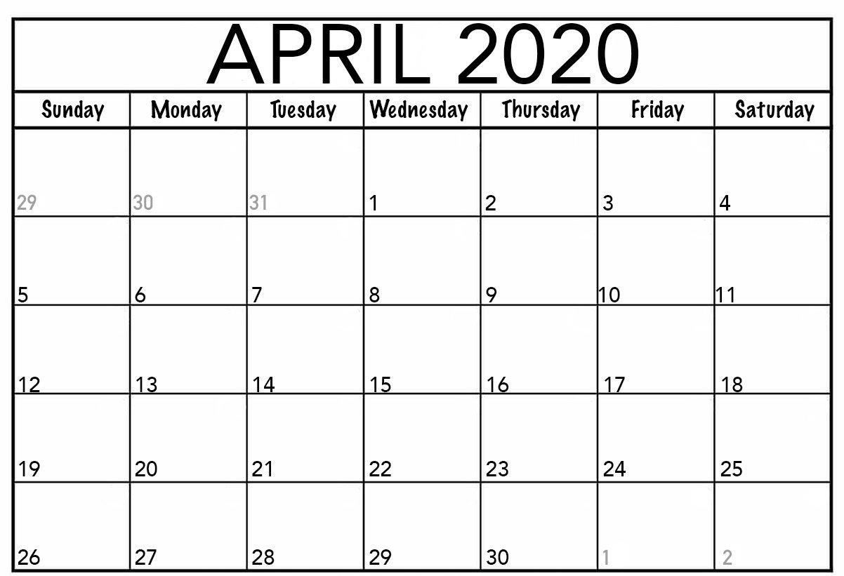 Blank April Fillable Calendar 2020 | Calendar Printables Fillable Blank Calendar Template