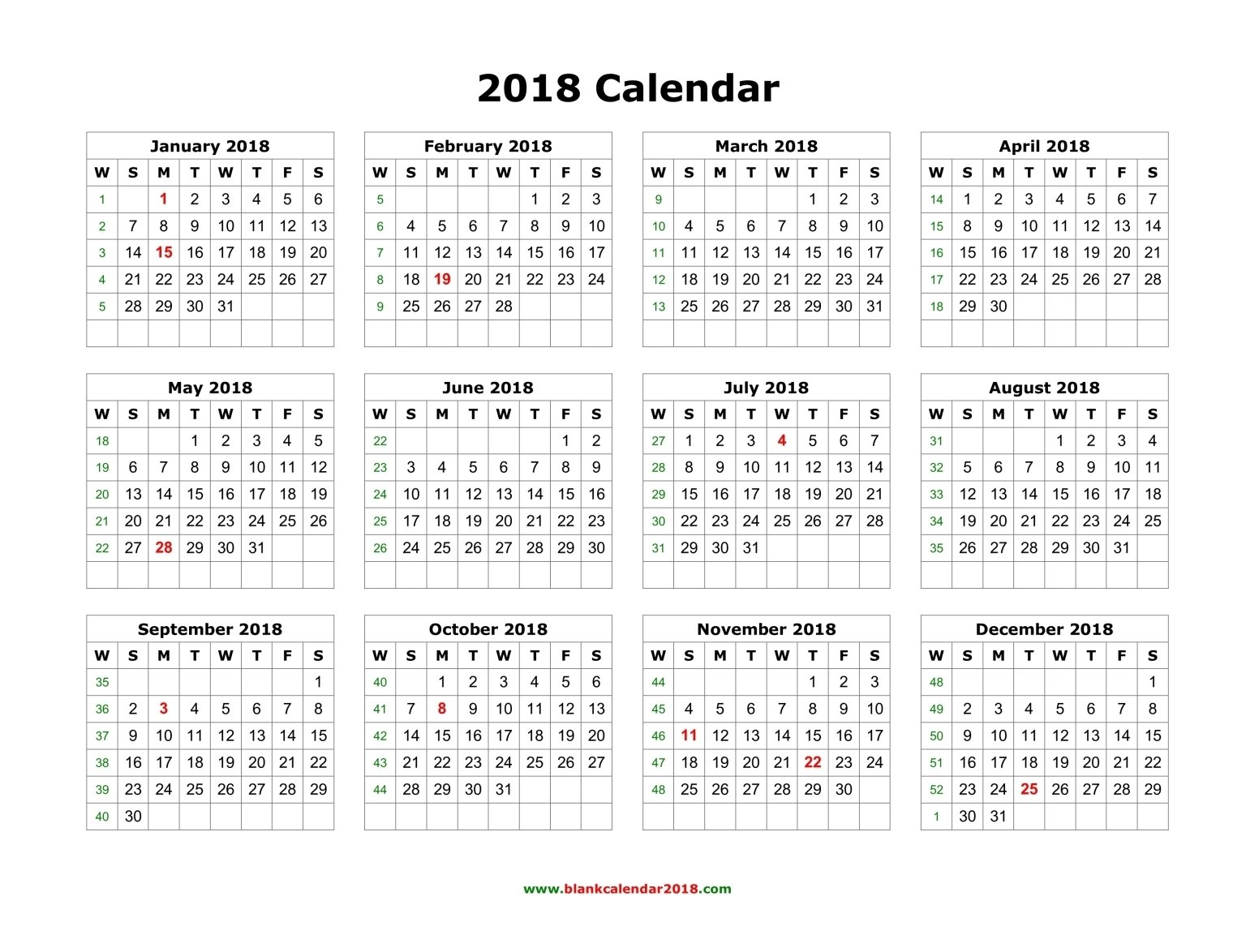Blank Calendar 2018 Landscape Print Free Calendars Without Downloading 2018