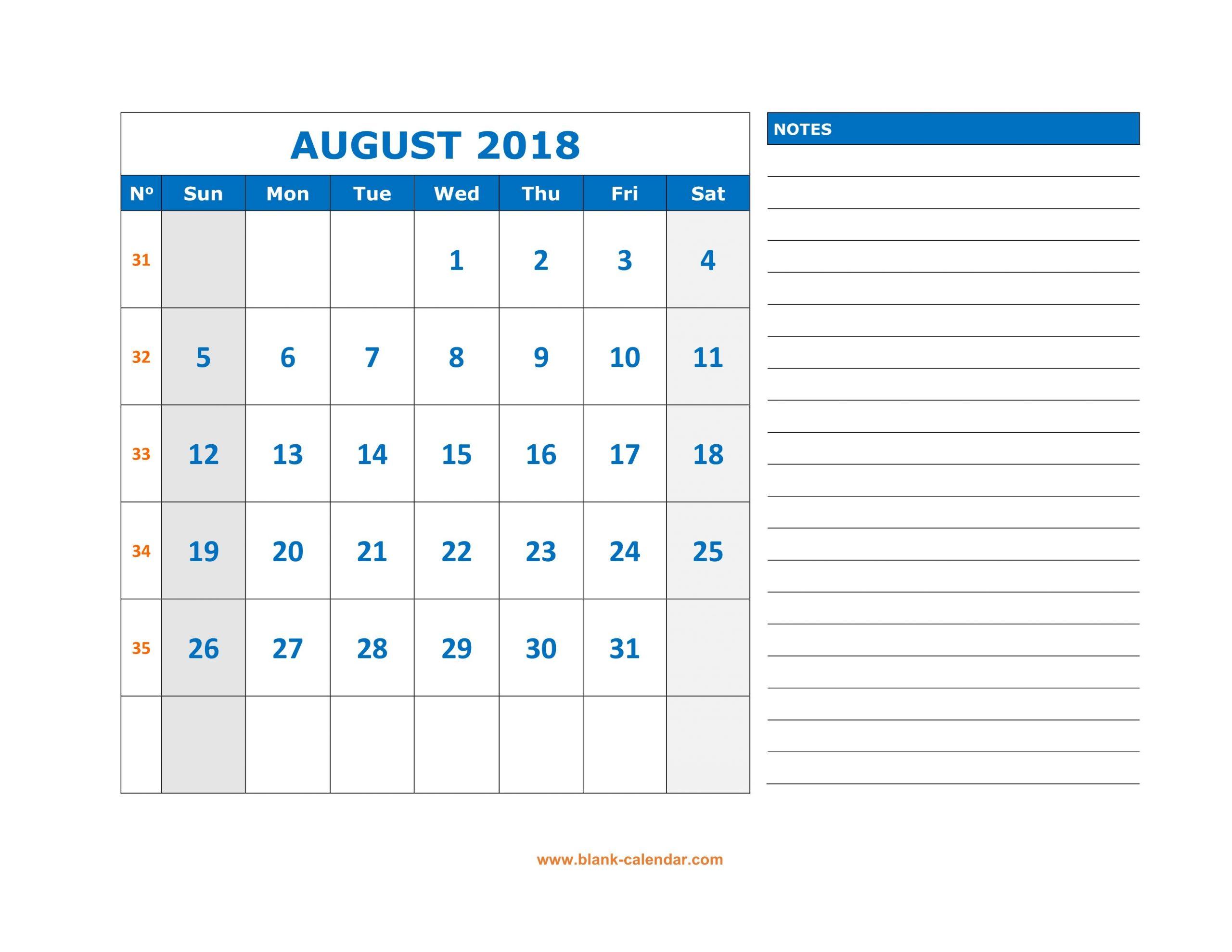 Blank Calendar August Mon-Fri | Calendar Template Mon Fri Calendar Template