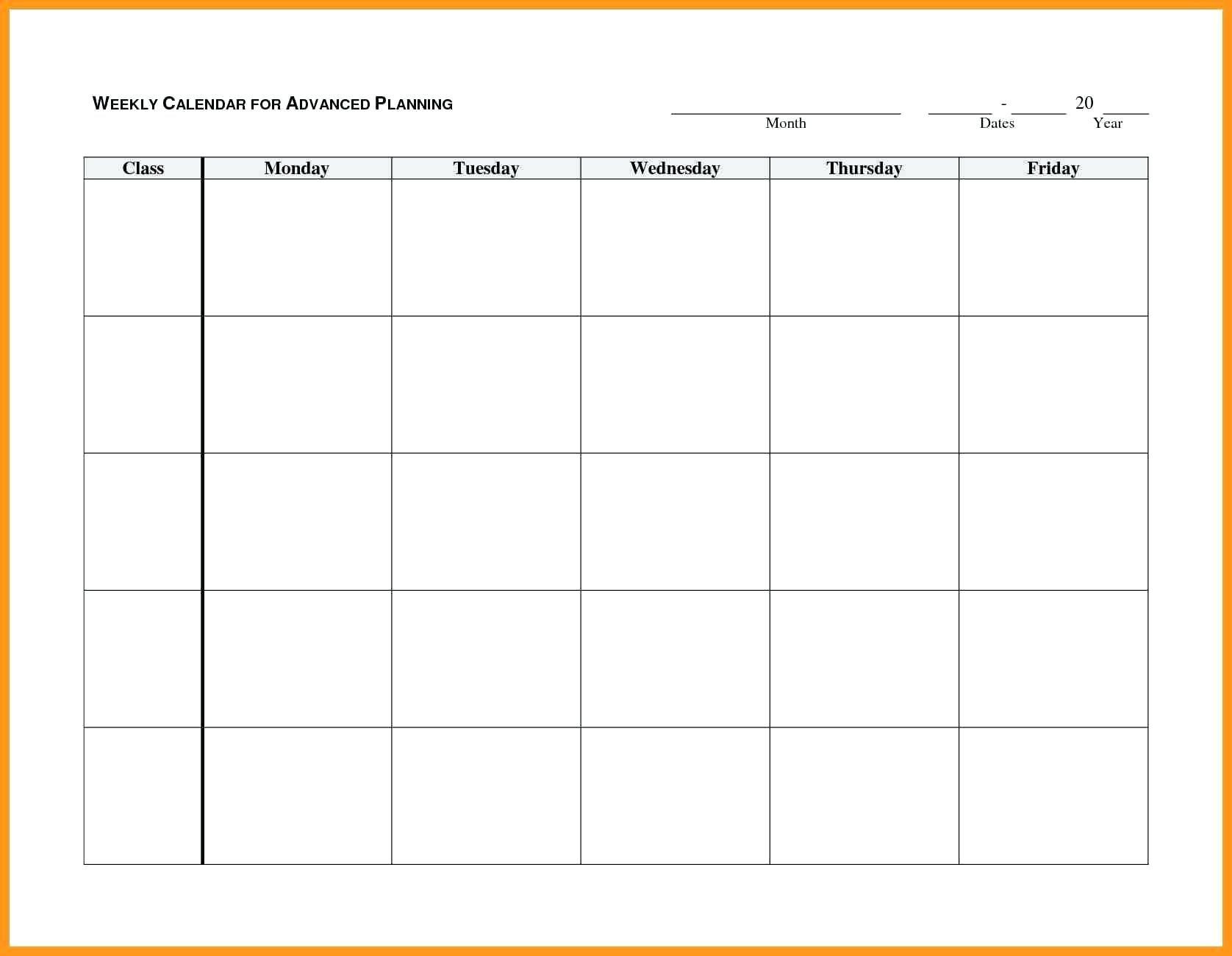 Blank Calendar Monday To Friday   Example Calendar Printable Monday To Friday Calender