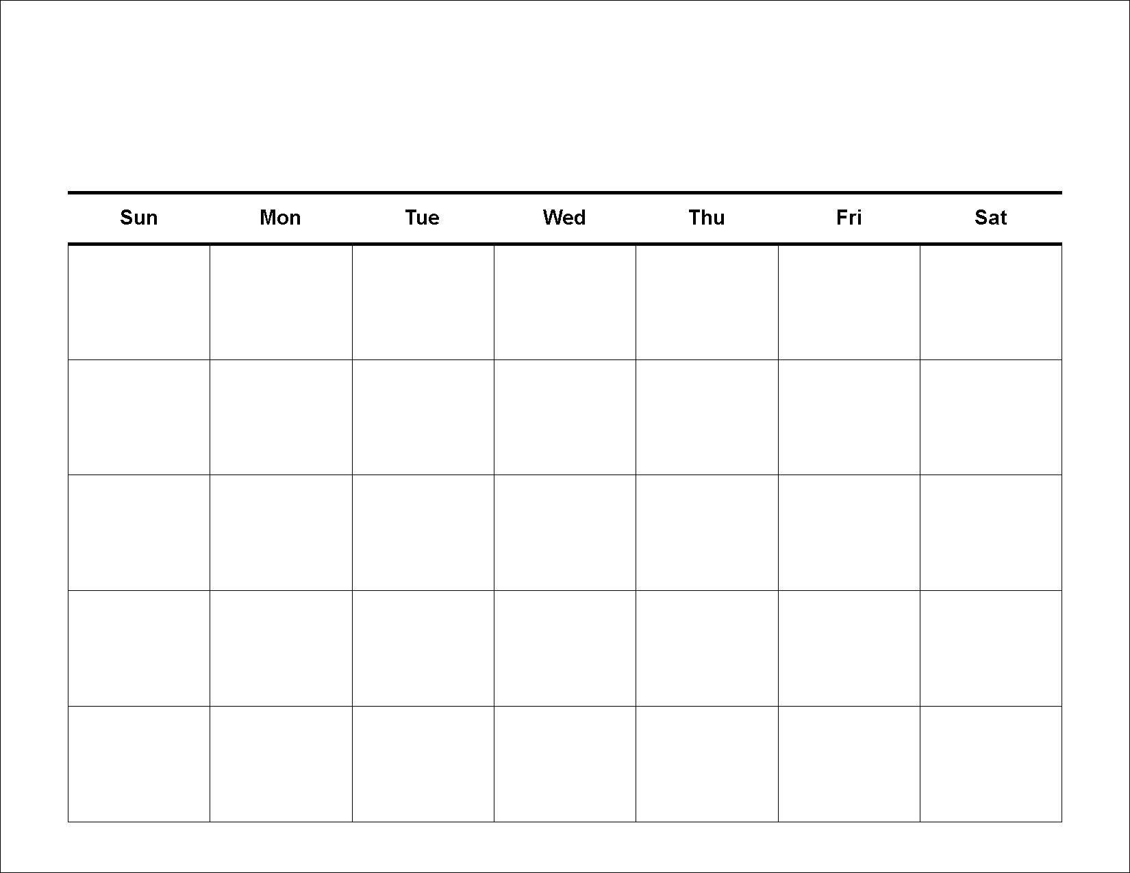 Blank Calendar – Printable 2016 Calendar Templates Blank 5 Week Calandar
