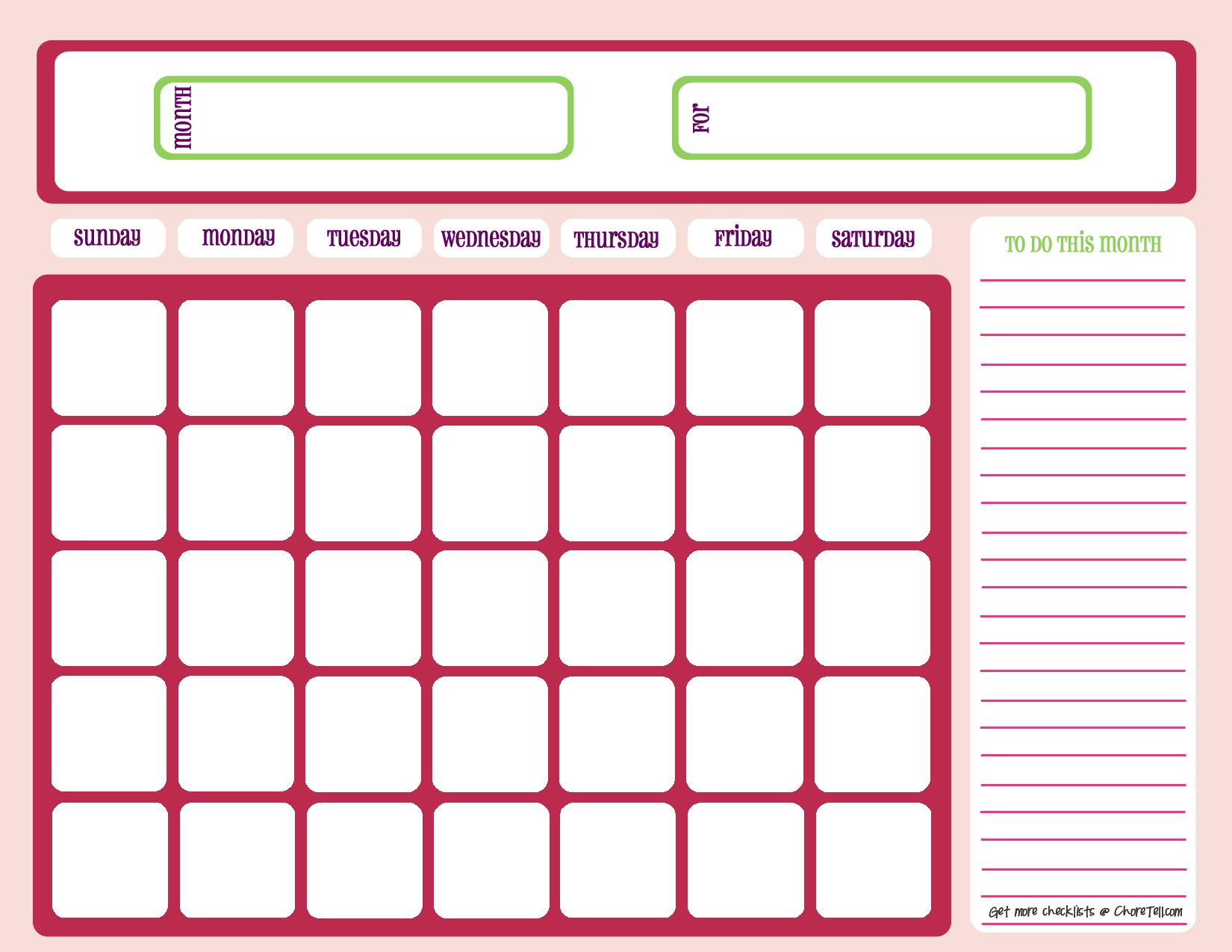 Blank Calendar Printable Free Pdf   Images Printable Blank Free Fill In Calendars