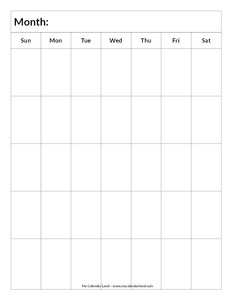 Blank Calendar Printable – My Calendar Land Calendar Fill In Template